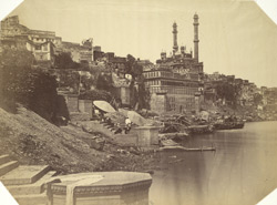 View of the ghats at Benares with Aurangzeb's mosque in the background.